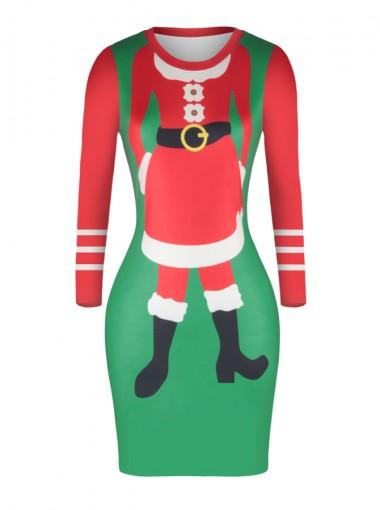 Multi Color Long Sleeves Santa Printed Bodycon Dress