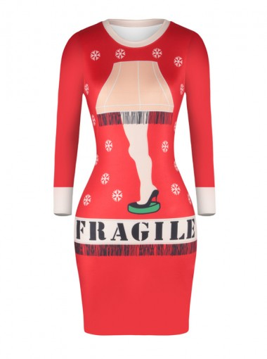 Red Letter Printed Snowflake Short Bodycon Dress