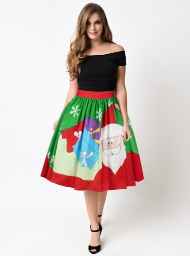Multi Color Santa Printed Christmas Pleated Skirt