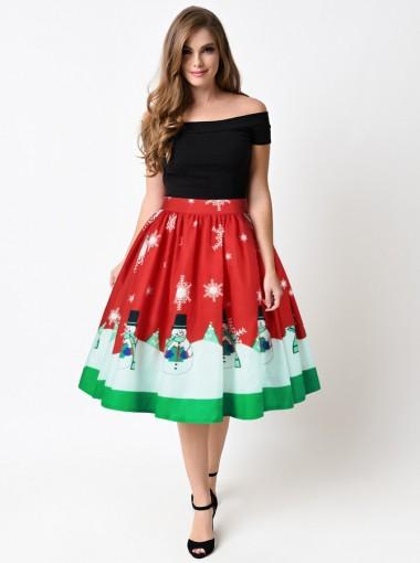 3D Printed Snowflake Red Christmas Dress