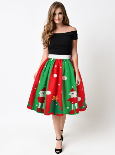 3D Printed Santa Multi Color Christmas Skirt