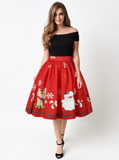 3D Printed Santa Reindeer Red Christmas Skirt