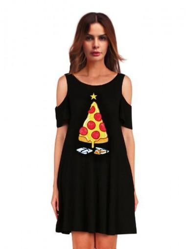 A-Line 3D Printed Pizza Cold Shoulder Black Shift Dress