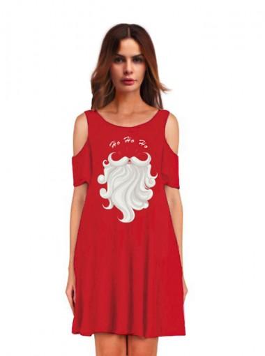 3D Printed Crew Neck Red Cold Shoulder Shift Dress