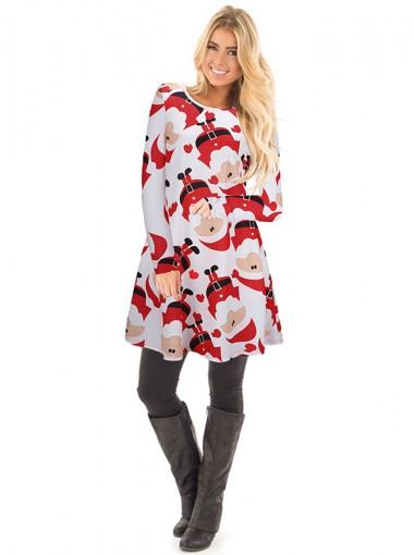 A-Line Crew Neck Santa Printed White Christmas Dress