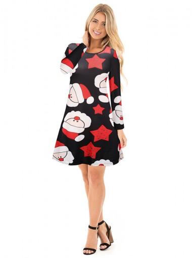 A-Line Crew Neck Reindeer Black Christmas Dress