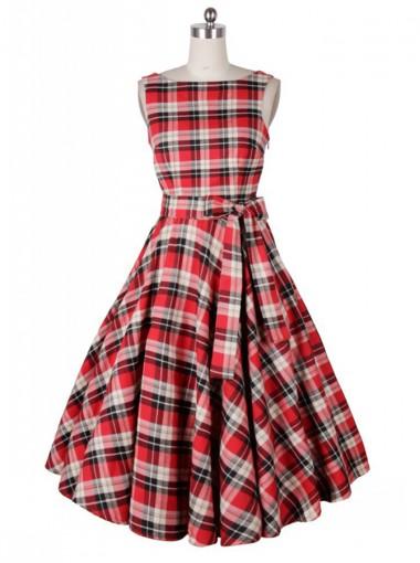 A-Line Bateau Red Plain Cotton Vintage Dress