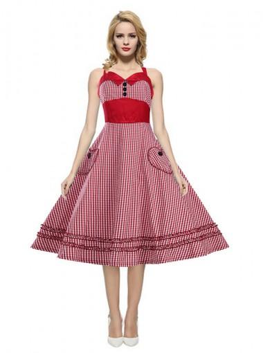 A-Line Halter Pockets Red Plain Vintage Dress