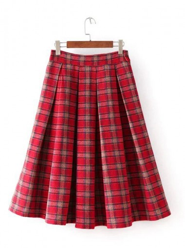Red Plaid Cotton Above-Knee Pleated Skirt