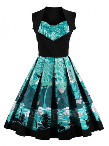 A-Line Square Neck Printed Green Vintage Dress