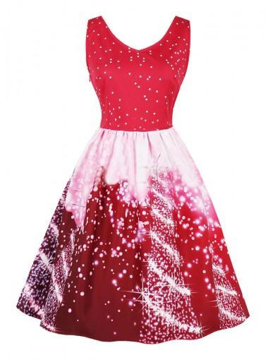 A-Line V-Neck Side-Zipper Short Printed Vintage Dress