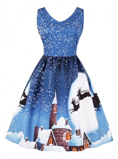 A-Line V-Neck Reindeer Printed Blue Vintage Dress