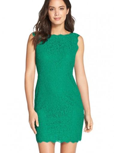 Bateau Green Lace Short Bodycon Party Dress