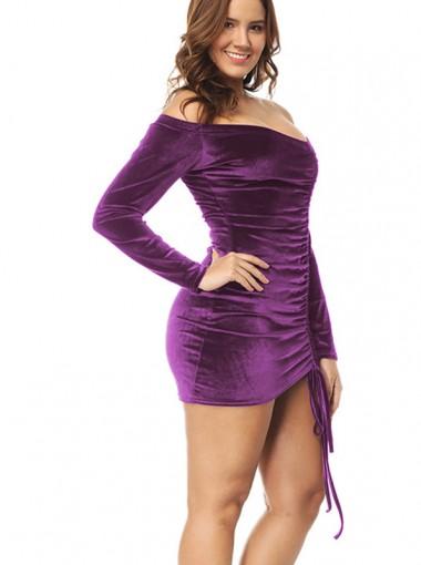 Off the Shoulder Long Sleeves Purple Velvet Bodycon Dress