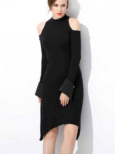 Cold Shoulder Asymmetry Black Bodycon Party Dress