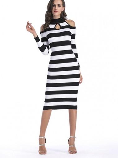 High Neck Cold Shoulder Keyhole Stripe Bodycon Dress