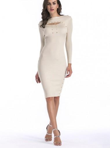 Bateau Keyhole Rivet Long Sleeves Bodycon Dress