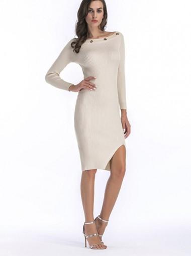 Bateau Long Sleeves Rivet Bodycon Sweater Dress
