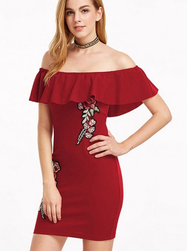 Off the Shoulder Red Bodycon Dress with Embroidery