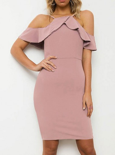 Cold Shoulder Ruffles Pink Bodycon Dress