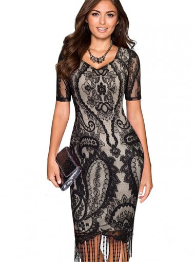 V-Neck Fringes Vintage Black Lace Bodycon Dress