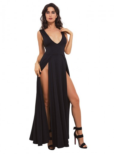 Sexy Deep V-Neck Split Front Black Club Dress
