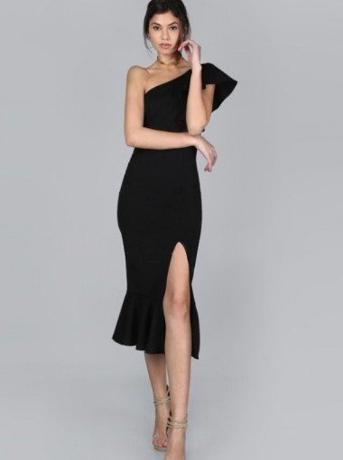 Split Front One Shoulder Ruffles Black Bodycon Dress