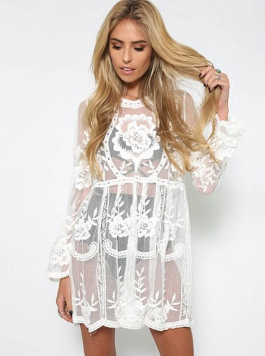 Long Sleeves Lace Round Neck Illusion White Club Dress