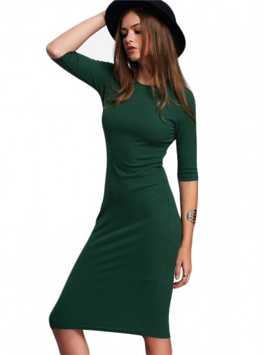 Round Neck Long Sleeves Dark Green Bodycon Dress