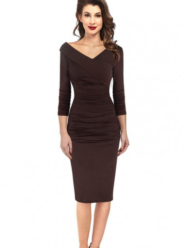 Off the Shoulder 3/4 Sleeves Brown Bodycon Dress