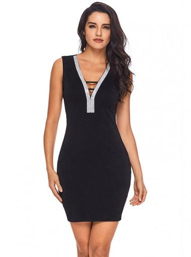 V-Neck Open Back Black Bodycon Dress