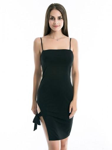 Sexy Spaghetti Straps Black Club Cami Dress