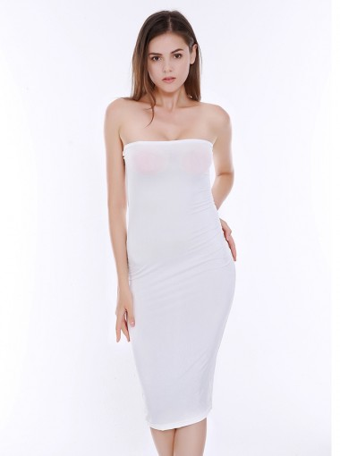Bodycon Solid White Strapless Club Dress