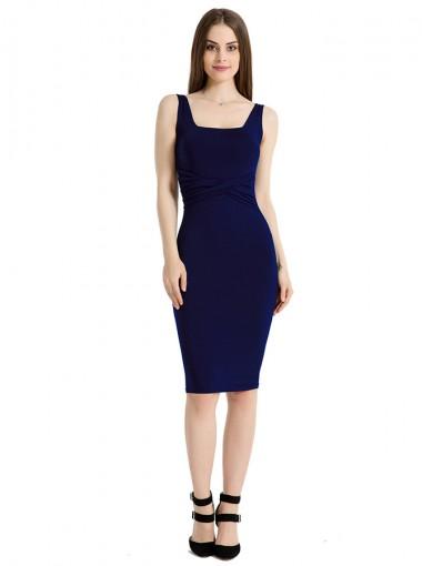 Square Neck Solid Dark Blue Club Cami Dress