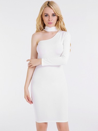 One Shoulder Long Sleeves White Club Dress