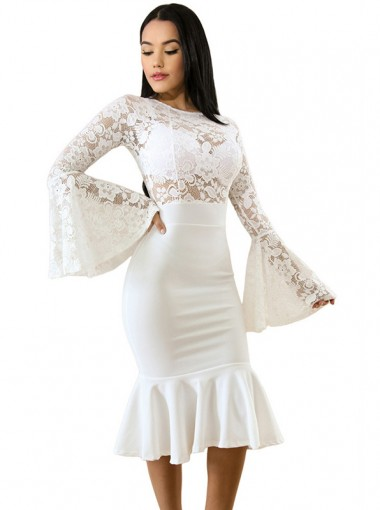 Lace Patchwork Flare Sleeves White Bodycon Dress