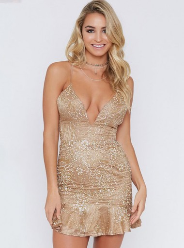 Lace-Up Spaghetti Straps Sequin Gold Club Dress