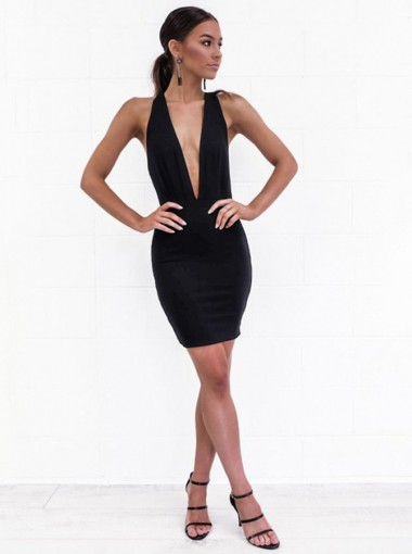Deep V-Neck Sleeveless Backless Black Club Dress