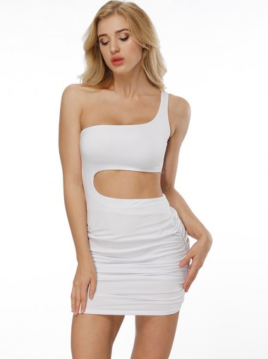 Sexy One Shoulder Open Back White Club Dress