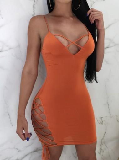 Lace-Up V-Neck Backless Orange Club Dress