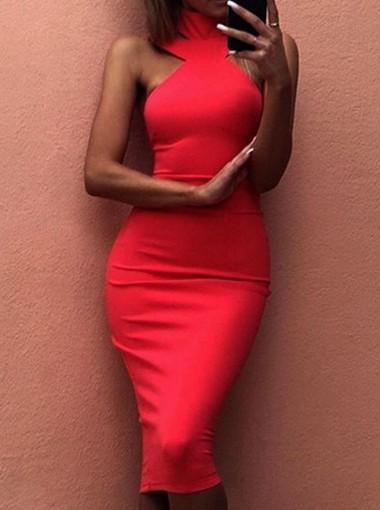 Round Neck Sleeveless Open Back Red Club Dress