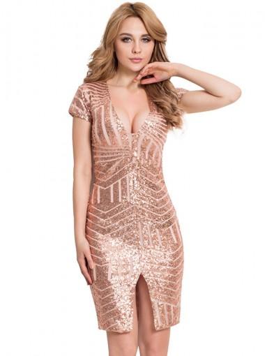 V-Neck Short Sleeves Rose Gold Sequin Club Dress