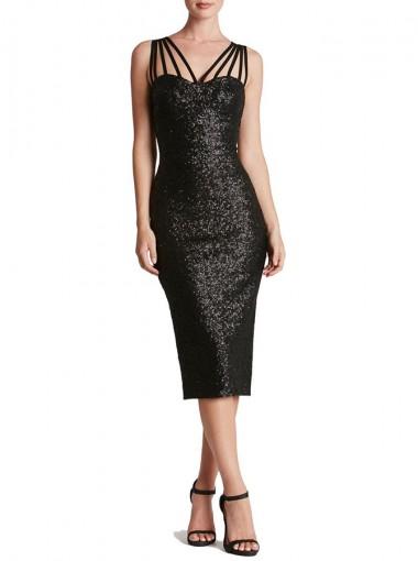 Spaghetti Straps Sequin Black Club Dress