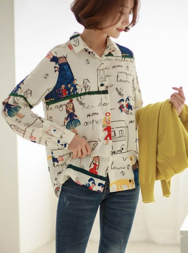 Lapel White Cartoon Print Cardigan Women's Shirt