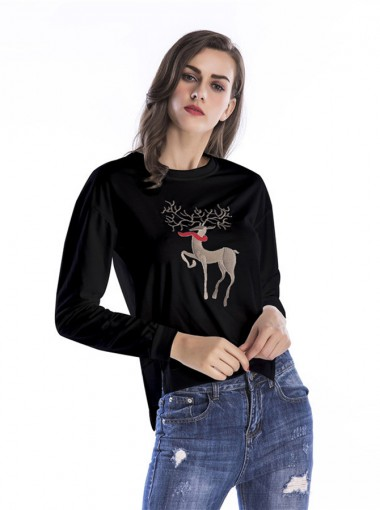 Reindeer Printed Side Slit Long Sleeves Christmas Sweatshirt