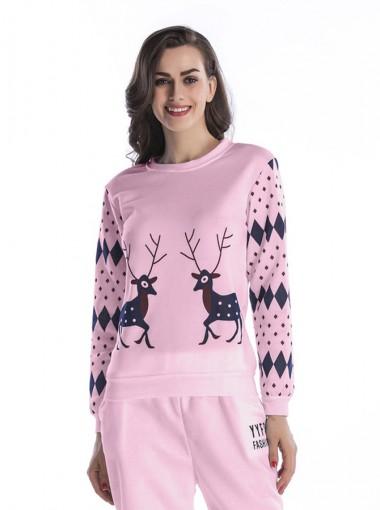 Reindeer Geometry Printed Raglan Sleeve Christmas Sweatshirts