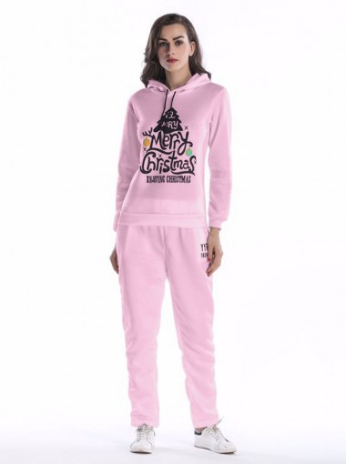 Pink Letter Printed Drawstring Hooded Sweatshirt Set with Pockets