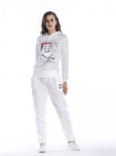 Santa Claus Letter Printed Drawstring Hooded Christmas Sweaters Set with Pockets
