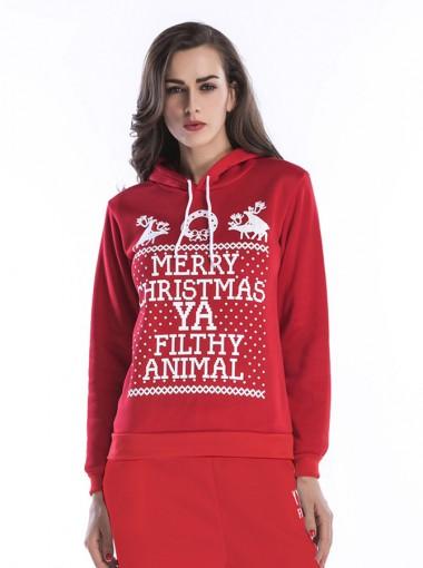 Reindeer Letter Printed Drawstring Red Hooded Sweatshirt