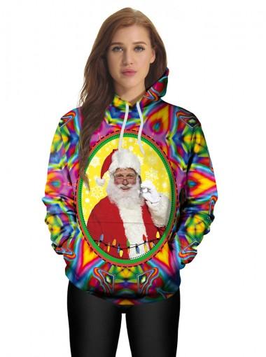 3D Printed Santa Claus Kangaroo Pockets Drawstring Hooded Sweatshirt